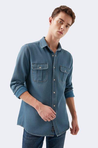 Mavi Erkek Çift Cepli Gömlek