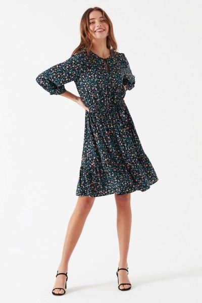Mavi Kadın Baskılı Elbise