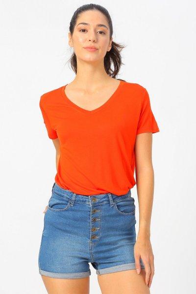 Fashion Friends Kadın V Yaka Kısa Kollu Tshirt